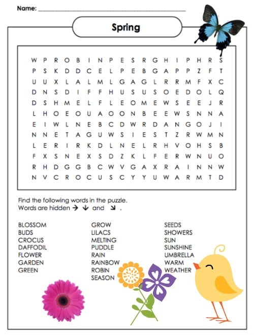 Pics Photos - Spring Word Search Puzzles Printable