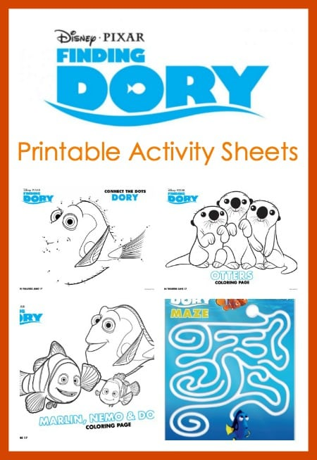 Finding Dory Printable Activity Sheets