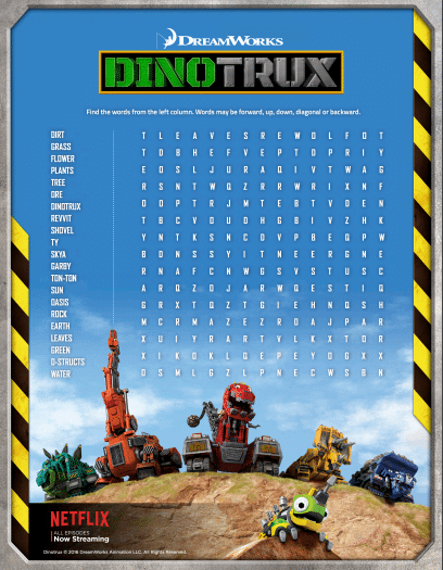 Printable Dinotrux Word Search Puzzle
