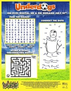 Underdogs Printable Activity Sheet + DVD Giveaway