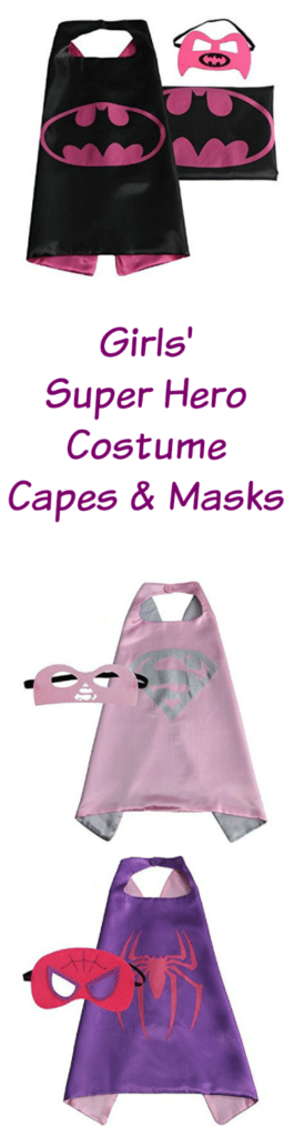 Girls Super Hero Costume Capes and Masks