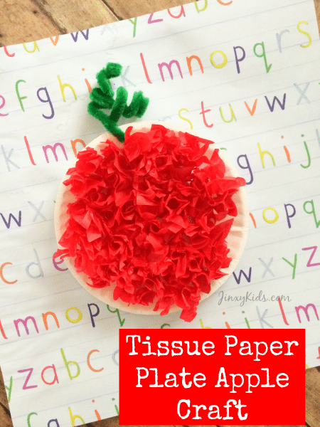 What's your favorite part of fall? We like the cooler weather, big piles of leaves, harvest festivals and apple picking! And then, of course, that apple picking leads to all kinds of yummy apple treats! To celebrate those fall apples, we have have this fun Tissue Paper Plate Apple Craft!