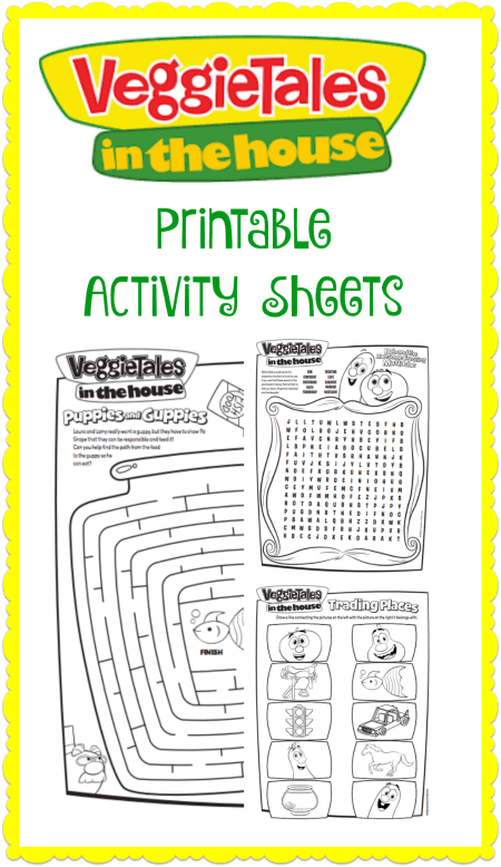 These fun Veggie Tales in the House Printable Activity Sheets include a maze, word find puzzle and matching game!