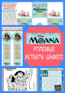 Moana Printable Activity Sheets