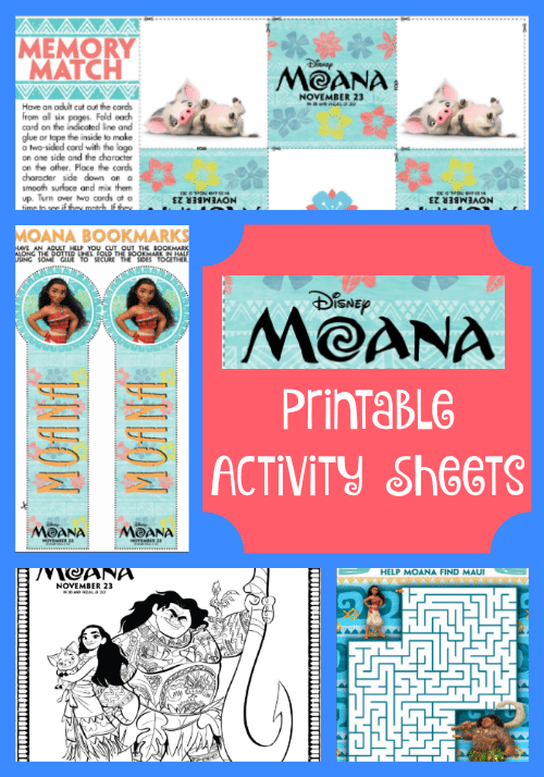 These fun Moana Printable Activity Sheets include a memory match game, maze, printable bookmarks and coloring sheets!