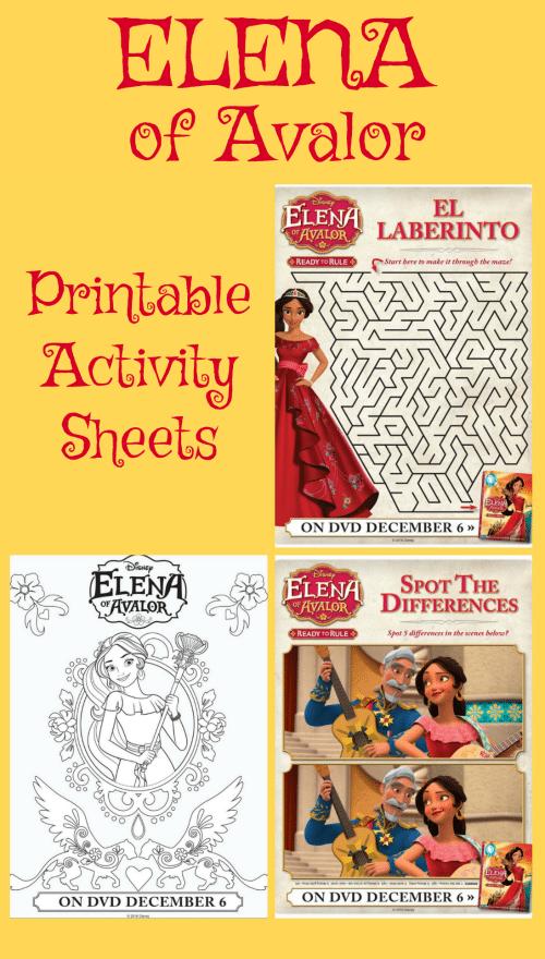 Elena of Avalor Printable Activity Sheets - Jinxy Kids