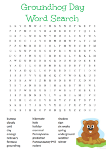 FREE Printable Groundhog Day Word Search Puzzle