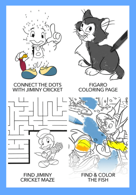 Printable Pinocchio Activity Sheets