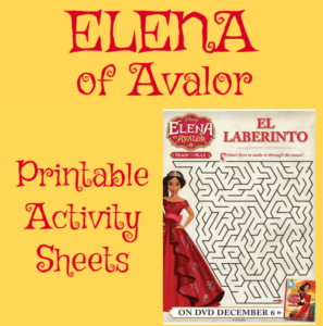 Elena of Avalor Printable Activity Sheets
