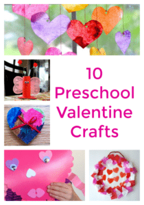 These 10 Preschool Valentine Crafts include ten activities featuring hearts and all things Valentine's Day perfect for toddlers and preschool kids!