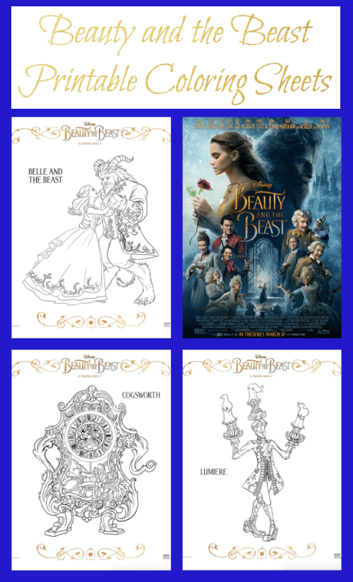 These Disney Beauty and the Beast Printable Coloring Sheets include all of our favorite characters like Belle, the Beast, Lumiere, Cogsworth, Mrs. Potts and more.