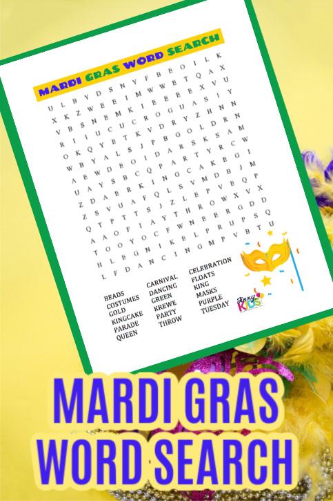Free Printable Mardi Gras Word Search Puzzle
