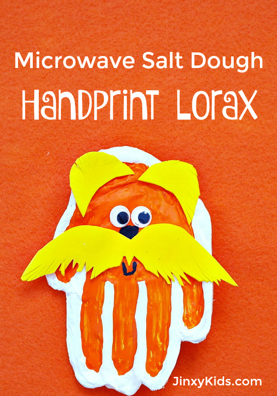 Handprint Lorax Craft With Microwave Salt Dough Jinxy Kids