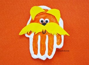 Handprint Lorax Craft with Microwave Salt Dough