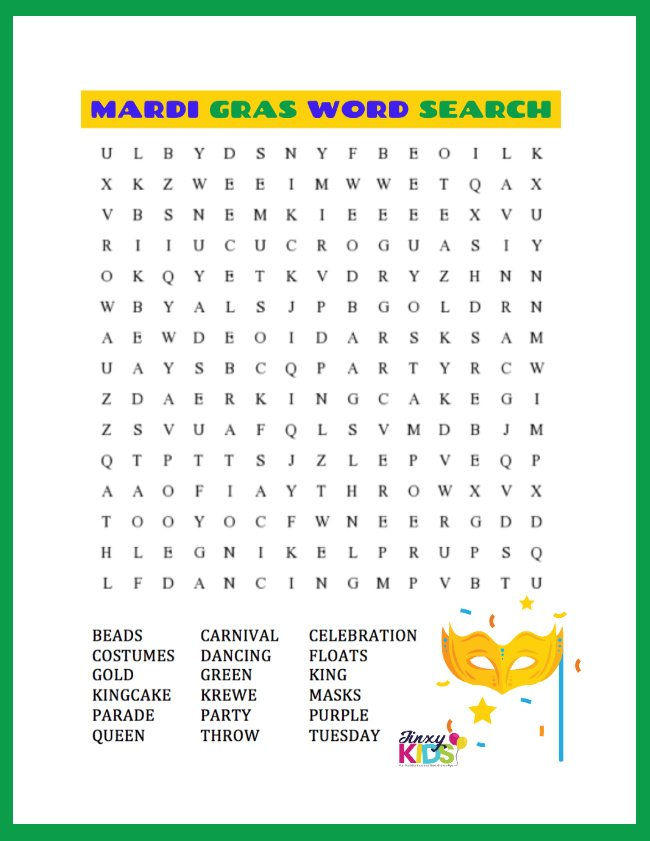 MARDI GRAS WORD SEARCH