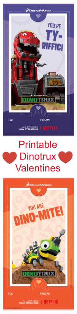 These Printable Dinotrux Valentines feature your favorite characters including Ty, Revvit and Skya! We also have some fun ideas for Dinotrux goodies to attach to your cards.