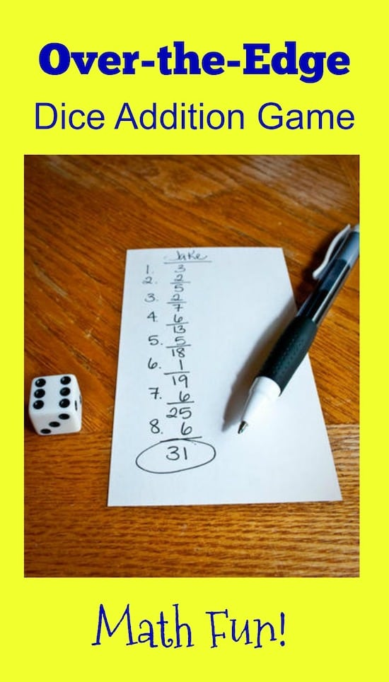 The Over-the-Edge Dice Addition Game is a fun math competition that's all about the luck-of-the-roll and a fantastic way for kids to master addition.