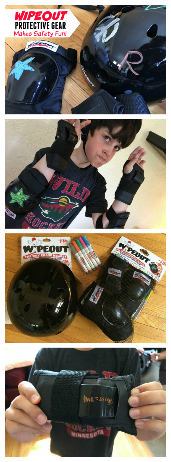 Wipeout Dry Erase Helmets and Safety Gear that kids can decorate themselves with included dry erase markers help make safety FUN!
