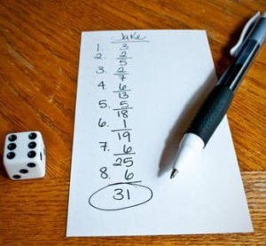 Over-the-Edge Dice Addition Game for Math Fun