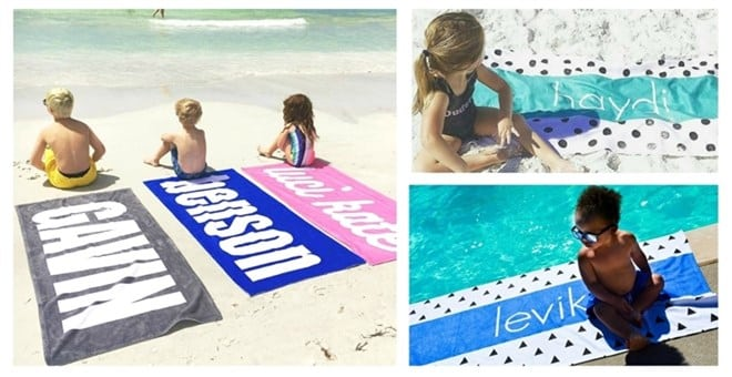 Grab a Modern Personalized Beach Towel just $24.99