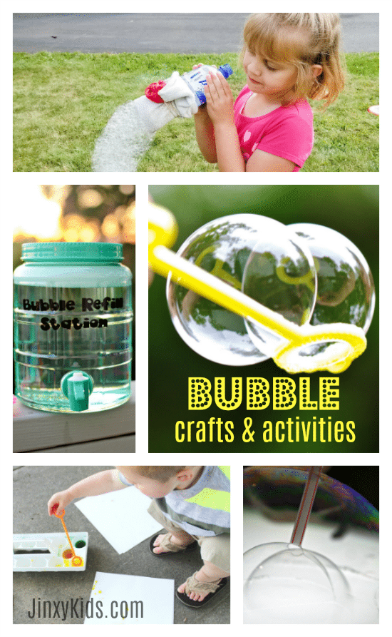 These Bubble Crafts and Activities include recipes for unbreakable bubbles, a DIY bubble refill station, painting with bubbles and more!
