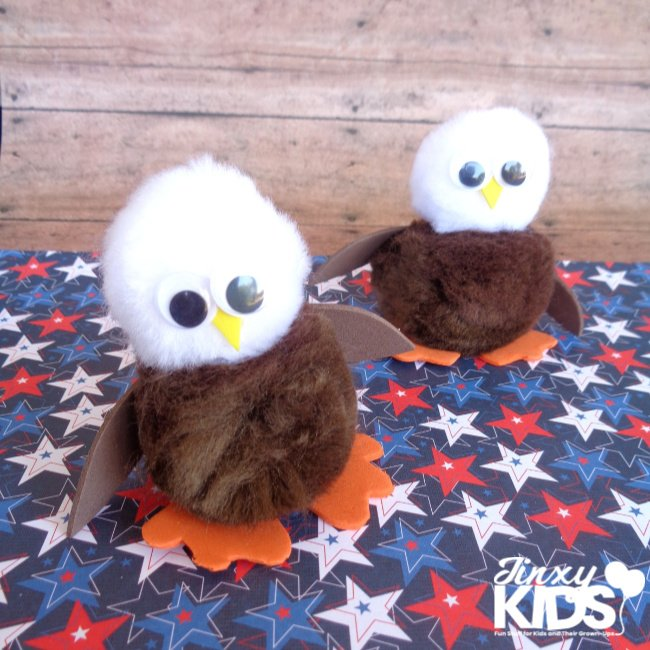 Kids Eagle Craft with Pom Poms