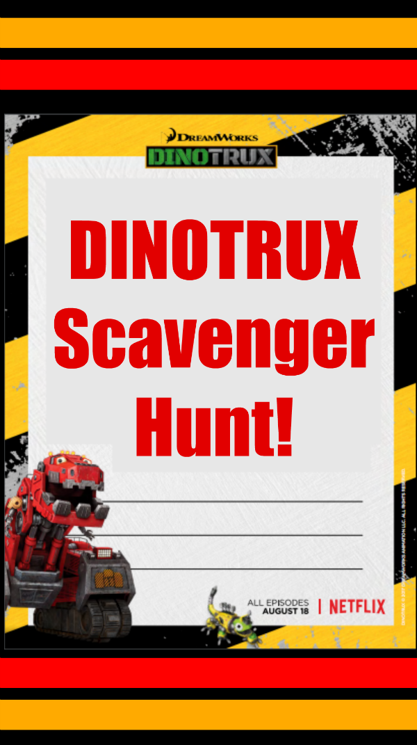 For some Dinotrux fun, grab this printable Dinotrux Scavenger Hunt Activity Page. Find construction-related objects on the list and check them off. There's even extra space to add other construction objects that aren't yet on the list!