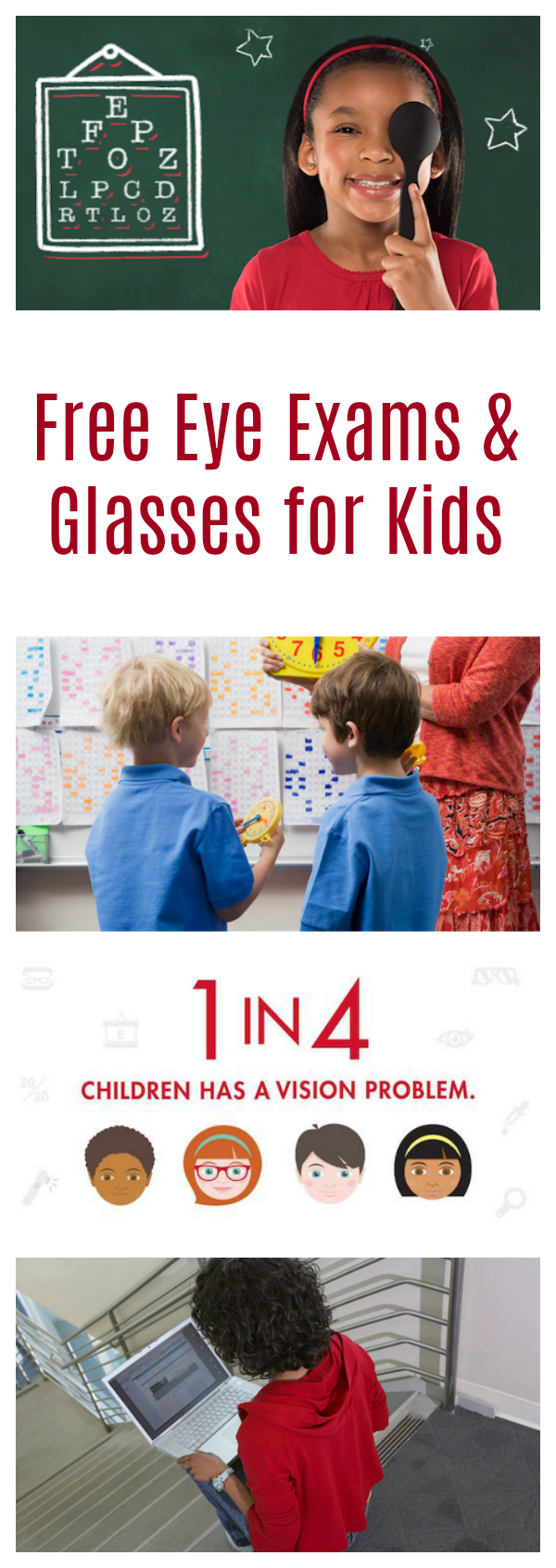 See how to apply for Free Eye Exams and Glasses for Kids in Need with the Let's Go See program from Visionworks!
