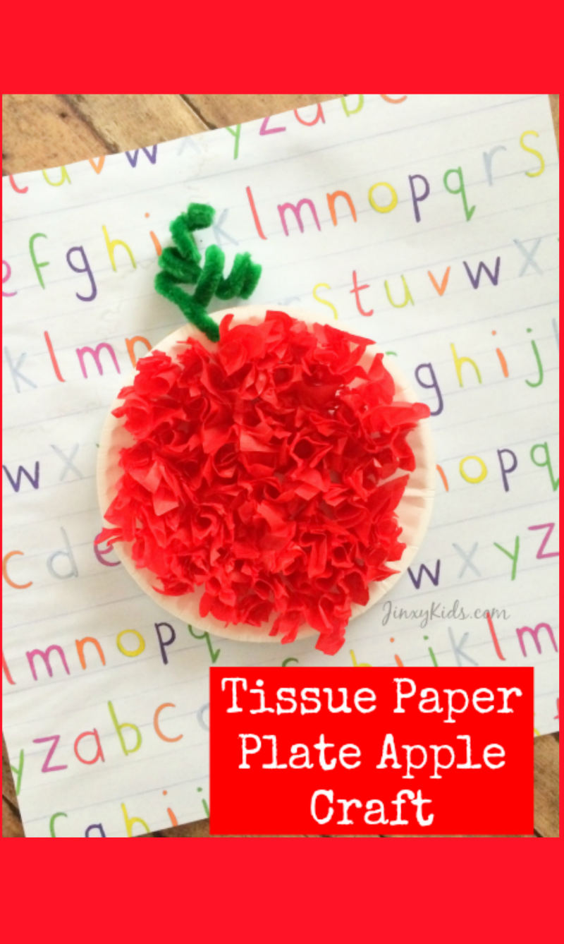 This Tissue Paper Plate Apple Craft is a fun way to celebrate fall with your kids!