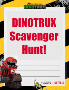 Dinotrux Scavenger Hunt Printable Activity Page – Season 5 Premieres Friday!