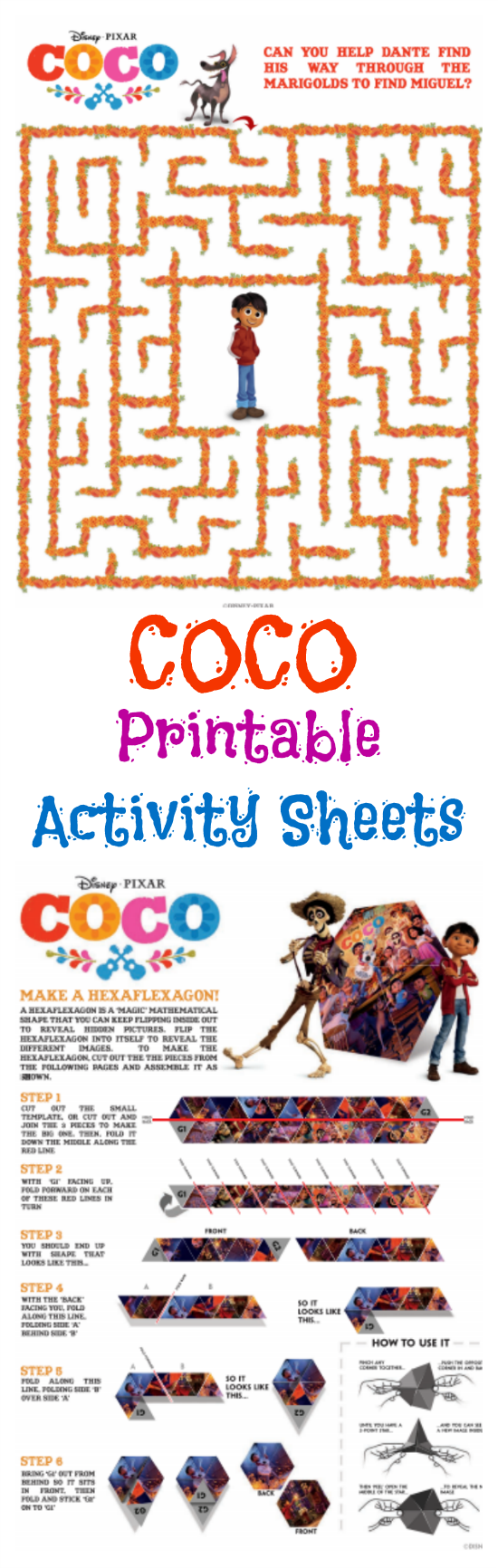 These fun these printable Disney Pixar COCO activity sheets include coloring sheets, a maze and a papercraft activity.