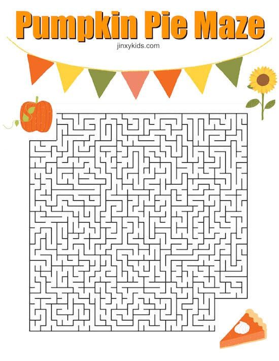 picture relating to Printable Thanksgiving identify Printable Pumpkin Pie Maze for Thanksgiving Entertaining - Jinxy Youngsters