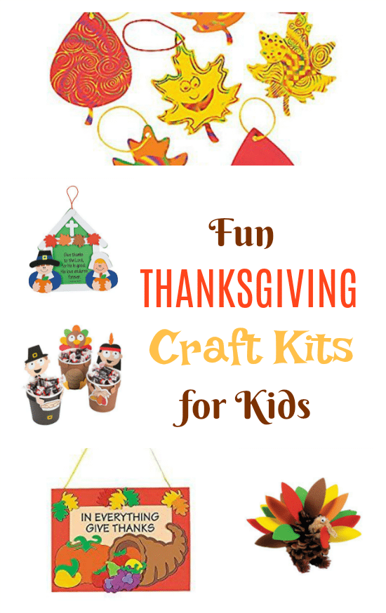 These fun Thanksgiving craft kits for kids have everything you need to make a Thanksgiving themed craft with your kids at home or in the classroom. Themes include turkeys, pumpkins, pilgrims, food, family and thankfulness.