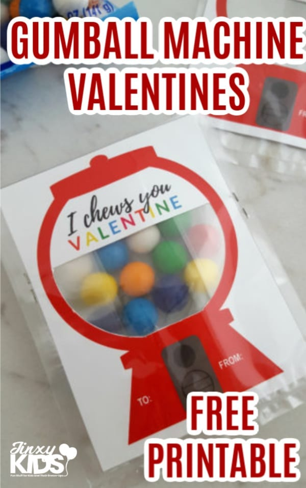 These adorable DIY Gumball Machine Valentines are so easy to make using this free printable card, a plastic treeat bag and gumballs! Happy Valentine's Day! #Valentine #ValentinesDay #DIYValentine #KidsValentine