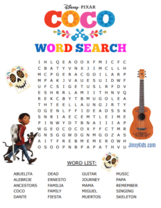 Free Printable COCO Word Search Puzzle