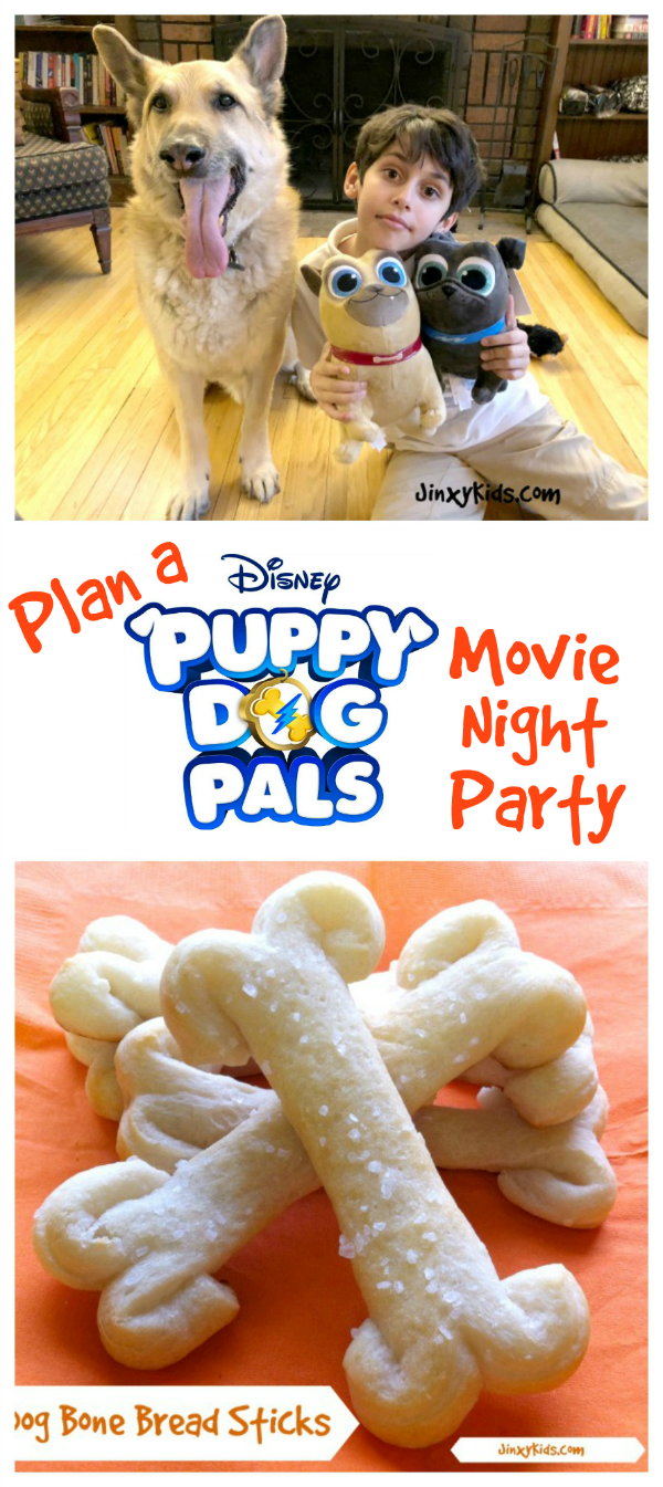 Plan a fun Puppy Dog Pals Movie Night Party with a dog bone bread stick recipe, printable activities and more!