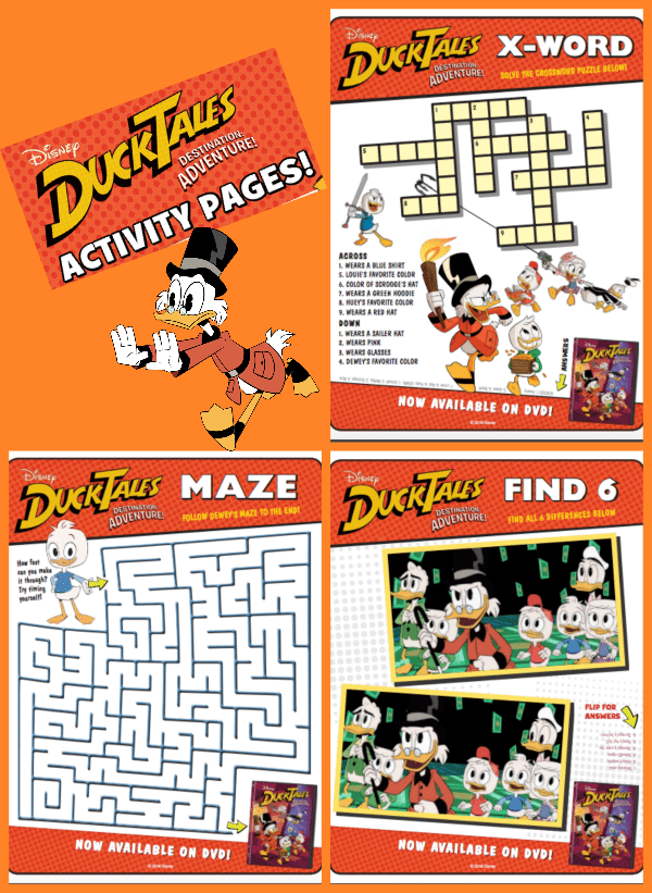 Get in on the fun with these DuckTales Printable Activity Sheets! You can download and print a fun coloring page, find the differences, maze, and crossword puzzle for your kids to complete.
