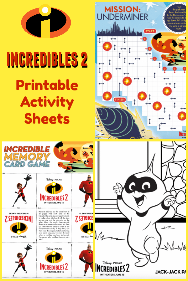 Printable Incredibles Activity Sheets