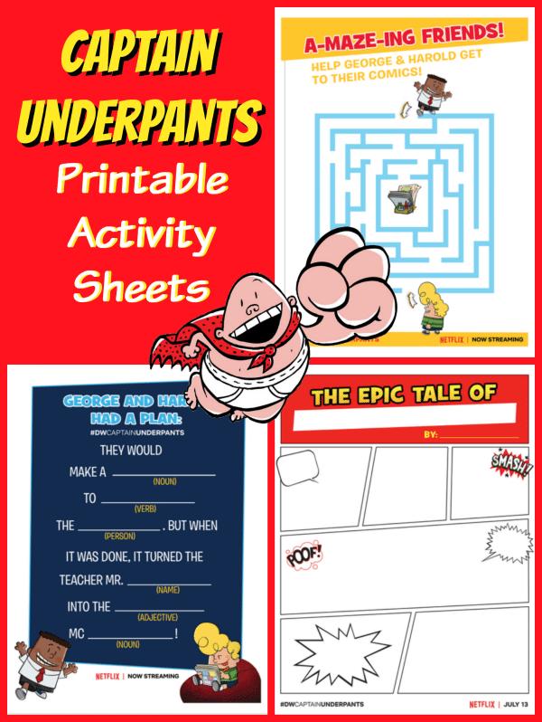 Captain Underpants Printable Activity Sheets Jinxy Kids