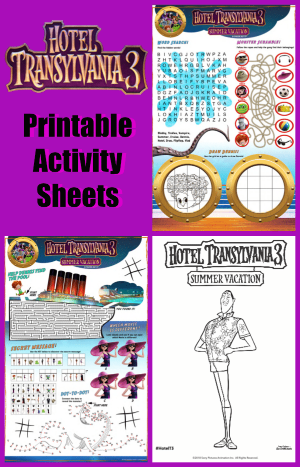 Hotel Transylvania Printable Activity Sheets