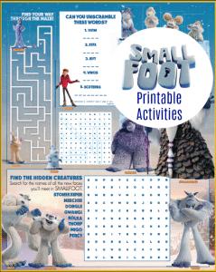 Smallfoot Printable Activity Sheets