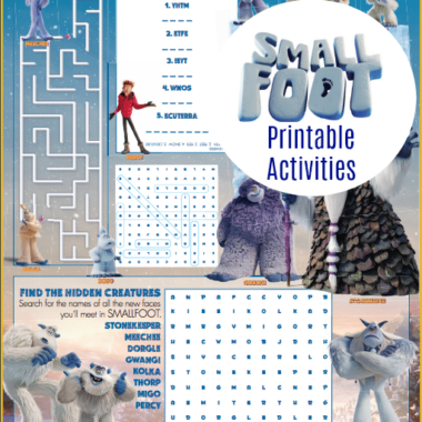 Smallfoot Printable Activity Sheets