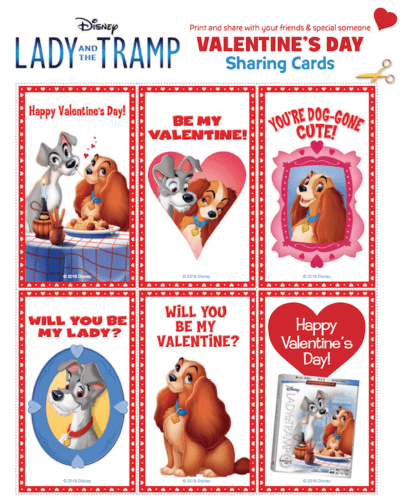 FREE Printable Lady and the Tramp Valentines