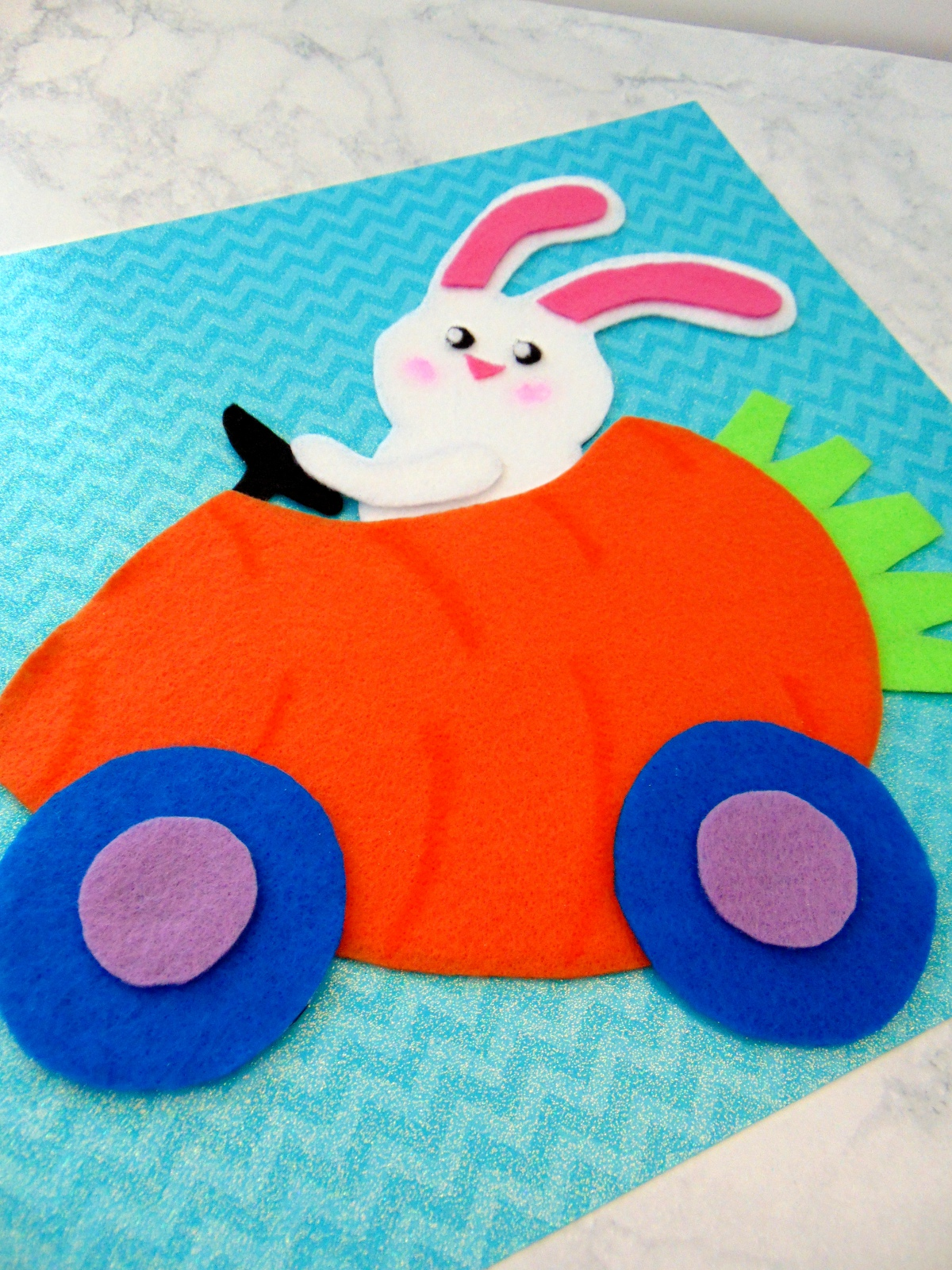 Felt Bunny Carrot Car Craft