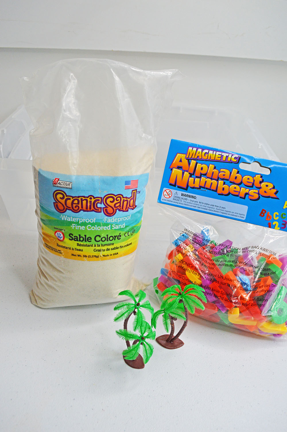 Chicka Chicka Boom Boom Sensory Bin Supplies