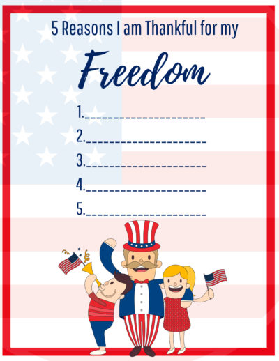 4th of July Printable - 5 Reasons I Am Thankful For My Freedom