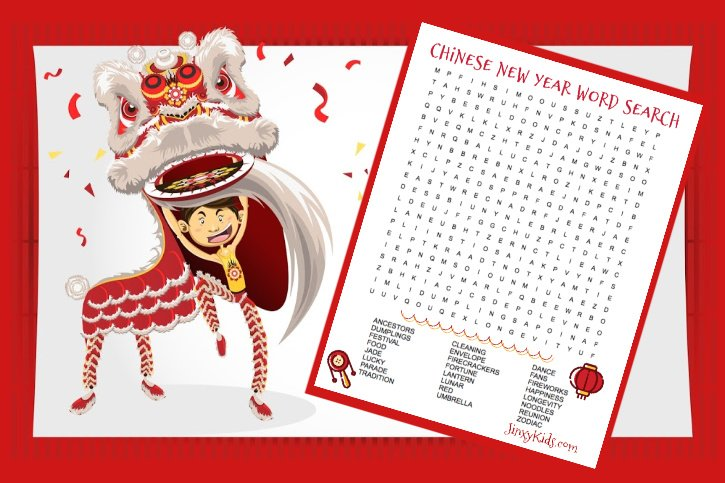 Chinese New Year Word Search Puzzle