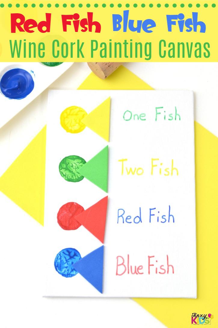Fun Red Fish Blue Fish Wine Cork Painting Canvas Craft!