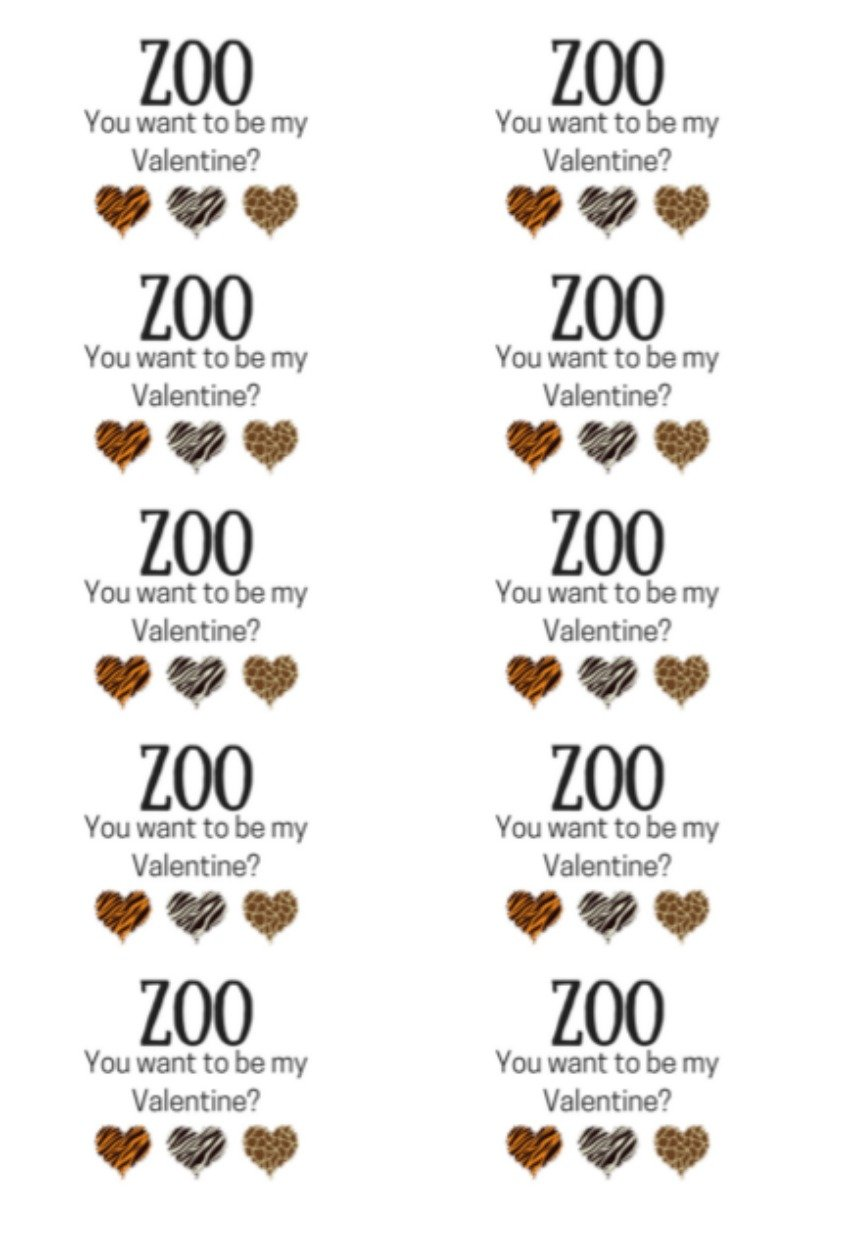 """Zoo You Want to be My Valentine"" Valentine Cards printables"