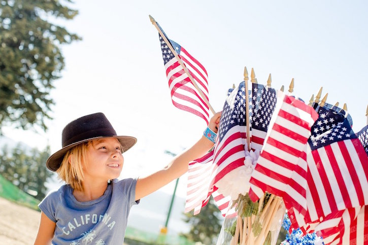 Child with American Flags